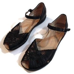 Earth Spirit Brown Leather Peep Toe Sandals Shoes